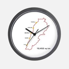 Lebanon Map 10,452 sq km Wall Clock