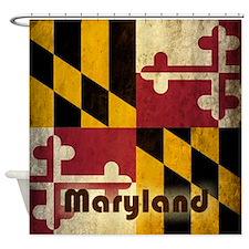 Grunge Maryland Flag Shower Curtain