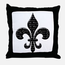 Calligraphy Fleur de lis Throw Pillow