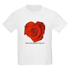 Red Heart Shaped Rose Kids T-Shirt