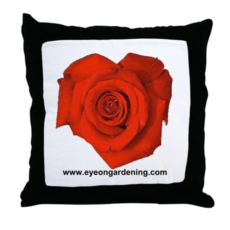 Red Heart Shaped Rose Throw Pillow
