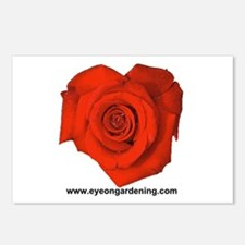 Red Heart Shaped Rose Postcards (Package of 8)
