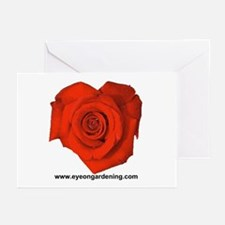Red Heart Shaped Rose Greeting Cards (Pk of 10