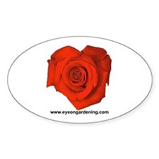 Red Heart Shaped Rose Oval Decal