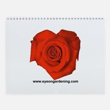 Red Heart Shaped Rose Wall Calendar