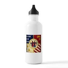 Grunge Detroit Flag Water Bottle
