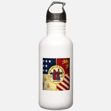 Grunge Detroit Flag Water Bottle