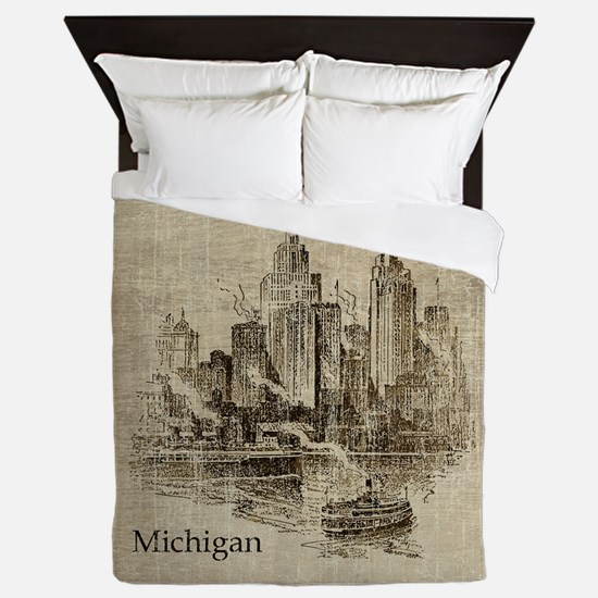 Vintage Michigan Skyline Queen Duvet