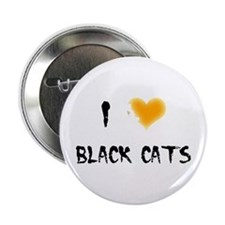 I Love Black Cats Button