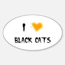 I Love Black Cats Oval Decal