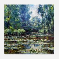 Monet Bridge Over Water Lily Pond Tile Coaster