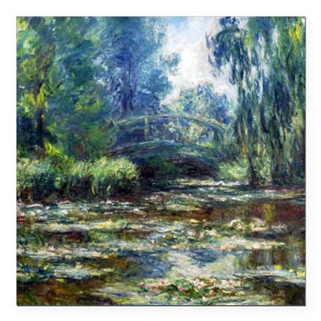 Monet Bridge Over Water Lily Pond Square Car Magne