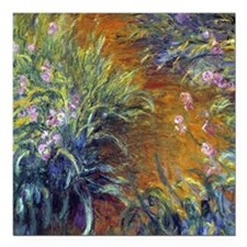 "Claude Monet Irises Square Car Magnet 3"" x 3"""