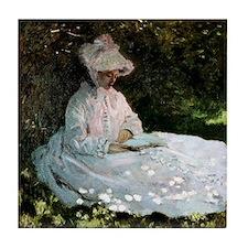 Claude Monet Woman Reading Tile Coaster