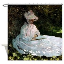Claude Monet Woman Reading Shower Curtain