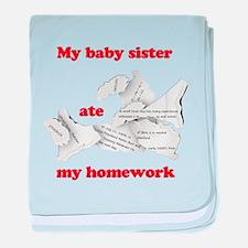 My baby sister ate my homework baby blanket