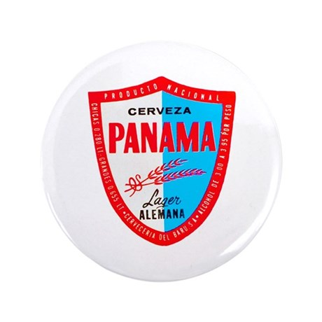 "Panama Beer Label 1 3.5"" Button"