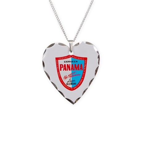 Panama Beer Label 1 Necklace Heart Charm