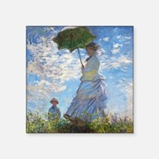 "Monet Woman with a Parasol Square Sticker 3"" x 3"""