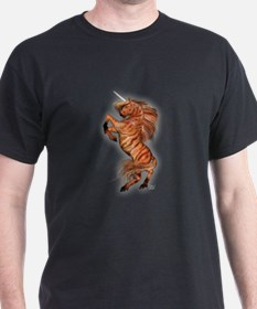 Wild Tiger Unicorn Black T-Shirt