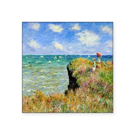 "Claude Monet Clifftop Walk Square Sticker 3"" x 3"""