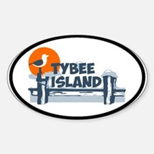 Tybee Island GA - Oval Design. Decal
