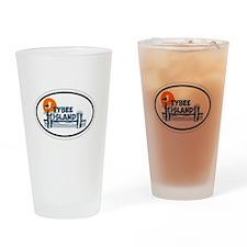 Tybee Island GA - Oval Design. Drinking Glass