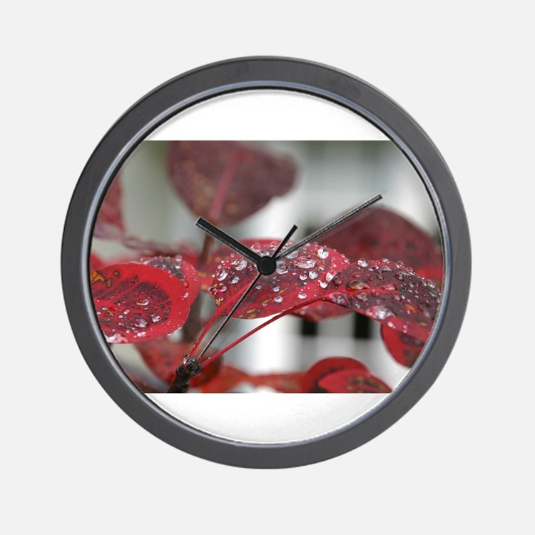 Dew on red leaves, Wall Clock