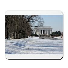 Lincoln memorial winter scene Mousepad