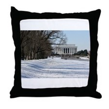 Lincoln memorial winter scene Throw Pillow