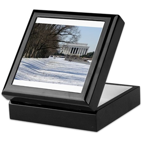 Lincoln memorial winter scene Keepsake Box