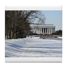 Lincoln memorial winter scene Tile Coaster