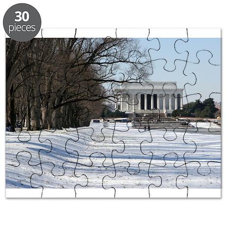 Lincoln memorial winter scene Puzzle