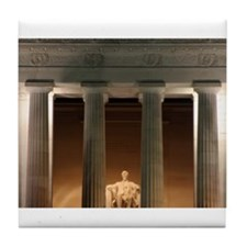 Lincoln memorial at night Tile Coaster