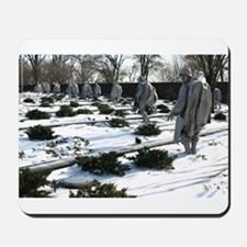 Korean war memorial veterans statues during snow M
