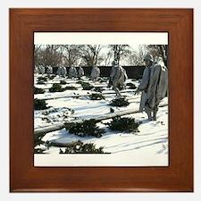 Korean war memorial veterans statues during snow F
