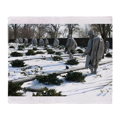 Korean war memorial veterans statues during snow