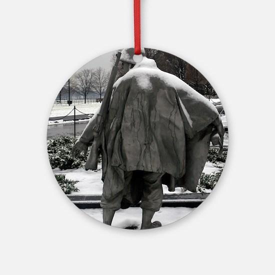Korean war memorial veterans statues during snow O
