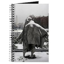 Korean war memorial veterans statues during snow J