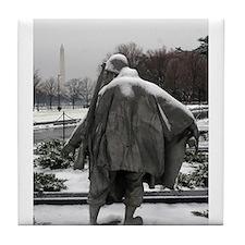 Korean war memorial veterans statues during snow T