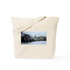 US Capitol Building Snow Scene Tote Bag