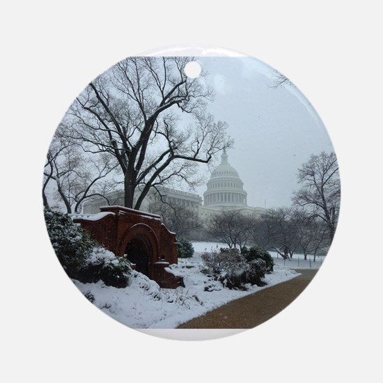 US Capitol Building Snow Photo Ornament (Round)