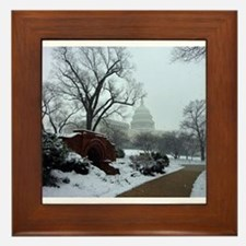 US Capitol Building Snow Photo Framed Tile
