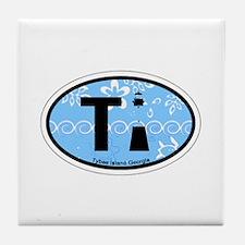 Tybee Island GA - Oval Design. Tile Coaster