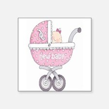 """Vintage Chick New Baby Girl Square Sticker 3"""" x 3"""""""