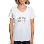 Will Run for Wine TM Women's V-Neck T-Shirt