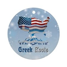 Greek American Roots Christmas Ornament (round)