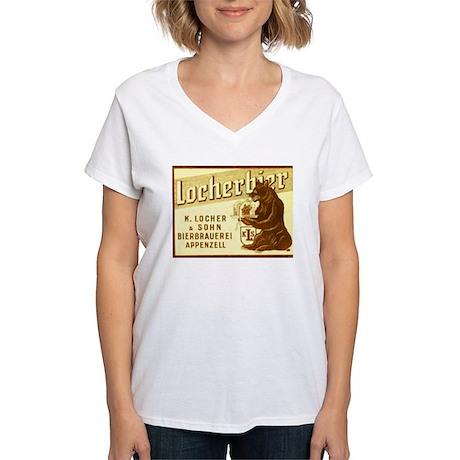 Switzerland Beer Label 1 Women's V-Neck T-Shirt