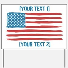 [Your Text] 'Handmade' US Flag Yard Sign