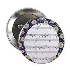 """Music and Flowers 2.25"""" Button"""